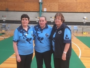 National ladies Triples Bronze medalists Dawn Carey, Jacinta Marney and Gill Phillips.