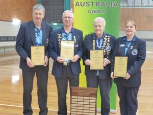 National Mixed Fours Champions Blackie Lenehan, Ian Lake, Cherril Helmore and Sandi Johnstone.